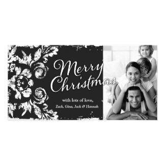 GC Vintage Grunge Charcoal Damask 3 Christmas Card