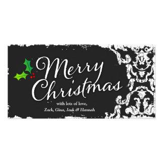 GC Vintage Grunge Charcoal Damask Holly Christmas Card