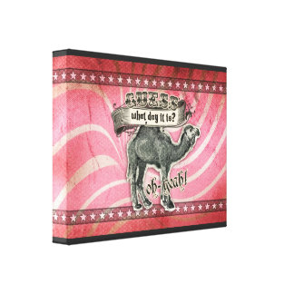 GC Vintage Guess What Day it Is Hump Day Pink Stretched Canvas Print