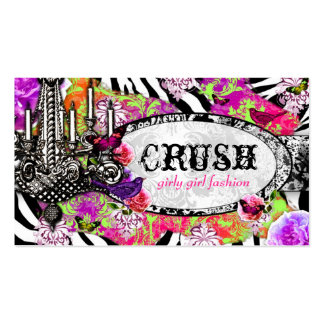 GC Vintage Lime Crush Charm Jungle Zebra Double-Sided Standard Business Cards (Pack Of 100)