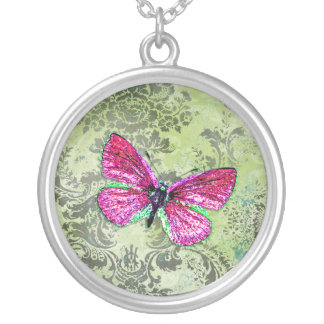GC   Vintage Lime Damask - Pink Butterfly Silver Plated Necklace