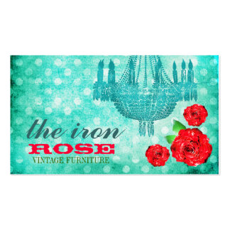 GC Vintage Rose Dots Blue Double-Sided Standard Business Cards (Pack Of 100)