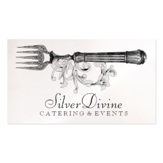 GC Vintage Silver Divine Silverware Double-Sided Standard Business Cards (Pack Of 100)