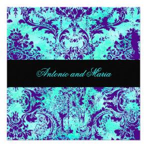 GC |  Vintage Turquoise & Purple Damask Custom Invite