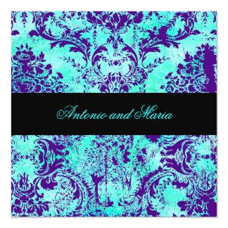 GC    Vintage Turquoise & Purple Damask 5.25x5.25 Square Paper Invitation Card