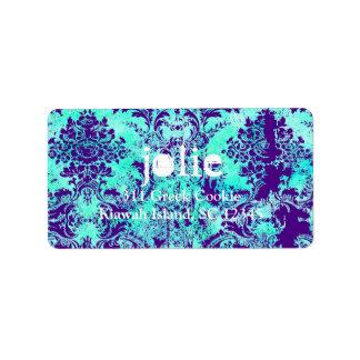 GC |  Vintage Turquoise & Purple Damask Label