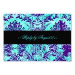 GC Vintage Turquoise & Purple Damask RSVP 3.5x5 Paper Invitation Card