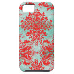 GC Vintage Turquoise Red Damask Case Mate iPhone 5 Covers