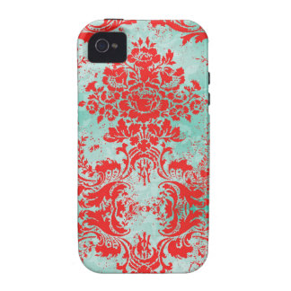 GC Vintage Turquoise Red Damask Case Mate Case For The iPhone 4