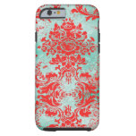 GC Vintage Turquoise Red Damask iPhone 6 Case