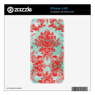 GC Vintage Turquoise Red Damask iphone Decals For The iPhone 4S