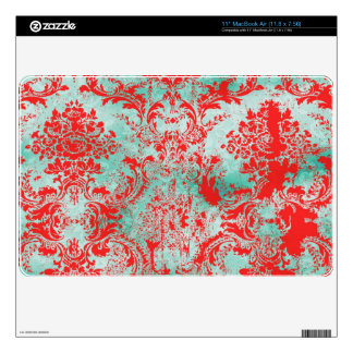 """GC Vintage Turquoise Red Damask Mac Book Air Decal For 11"""" MacBook Air"""