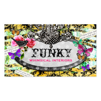 GC   Whimsical Vintage Charm Bee Damask Business Card