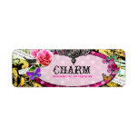 GC Whimsical Vintage Charm Pink Bee Return Address Label