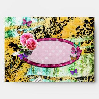 GC | Whimsical Vintage Pink Bee Envelope