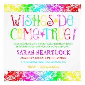 GC Wishes Do Come True Rainbow Damask Invitation