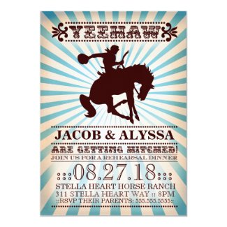 "GC Yeehaw Rodeo Rehearsal Blue 5"" X 7"" Invitation Card"