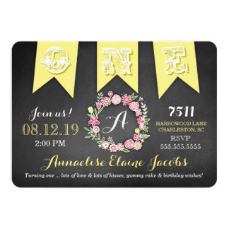 GC Yellow Girl First Birthday Banner Chalkboard Card