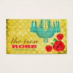 GC Yellow Vintage Rose Dots Business Card