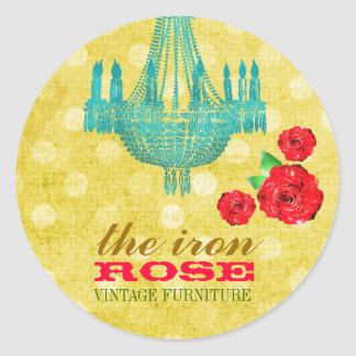 GC Yellow Vintage Rose Dots Business Card Classic Round Sticker