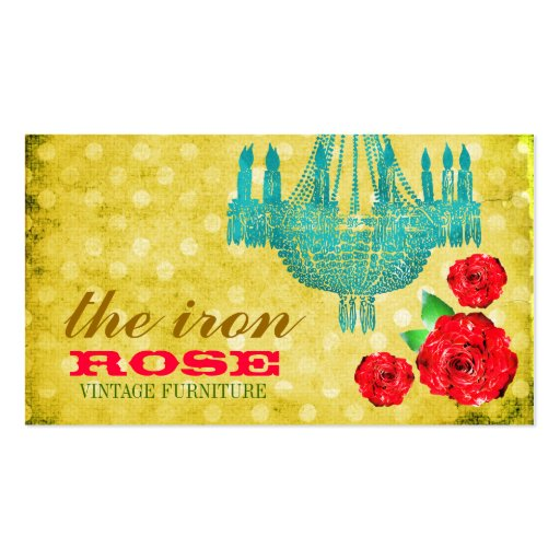 GC Yellow Vintage Rose Dots Business Card Template