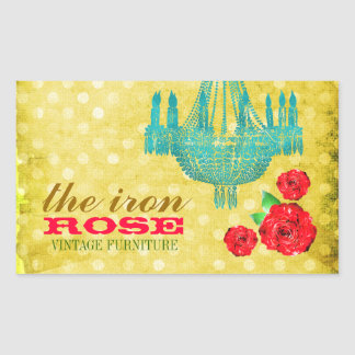 GC Yellow Vintage Rose Dots Rectangular Sticker
