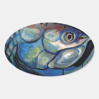 GCG Boca Grande Blue Tarpon Head Oval Sticker