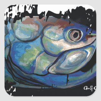 GCG Boca Grande Blue Tarpon Head Square Sticker