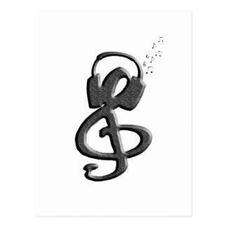 Gclef negro con las auriculares tarjetas postales
