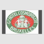 Gd Hotel Cosmopolite Bruxelles, Vintage Rectangular Stickers