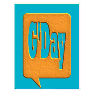 G'DAY GOOD DAY SLANG COMMENT BUBBLE SUMMER STYLE O POSTCARD
