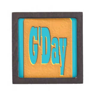 G'DAY GOOD DAY SLANG COMMENT BUBBLE SUMMER STYLE O PREMIUM KEEPSAKE BOX