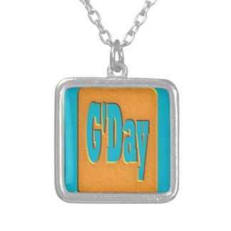 G'DAY GOOD DAY SLANG COMMENT BUBBLE SUMMER STYLE O SQUARE PENDANT NECKLACE
