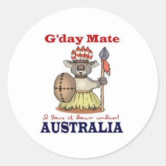G'Day Mate Koala Classic Round Sticker
