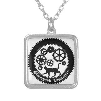 Gear Cat Square Pendant Necklace