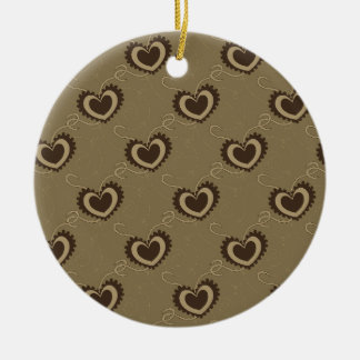 Gear Hearts and Dotted Lines Ceramic Ornament