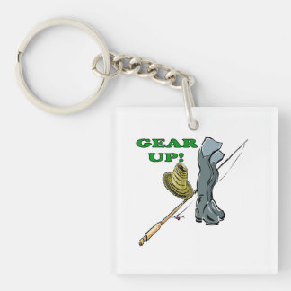 Gear Up Double-Sided Square Acrylic Keychain