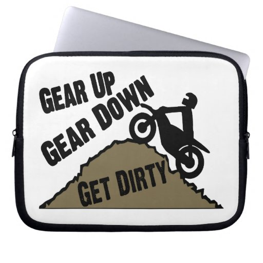 Gear Up Gear Down Dirt Bike Rider Laptop Computer Sleeve