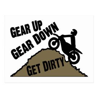 Gear Up Gear Down Dirt Bike Rider Postcard