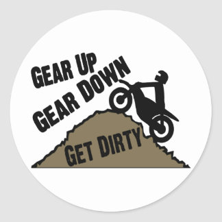 Gear Up Gear Down Dirt Bike Rider Stickers