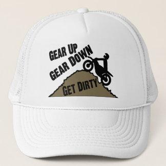 Gear Up Gear Down Dirt Bike Rider Trucker Hat