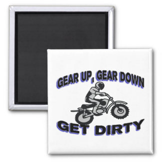Gear Up Get Dirty Motocross 2 Inch Square Magnet