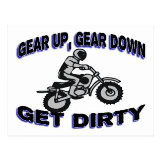 Gear Up Get Dirty Motocross Postcard