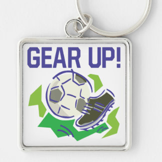 Gear Up Silver-Colored Square Keychain