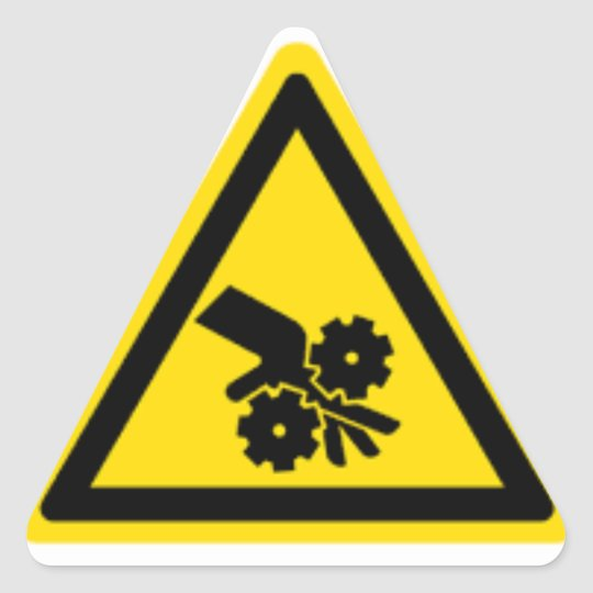 Gear warning hazard triangle sticker