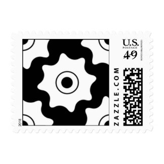 Gear wheels seamless pattern postage stamp