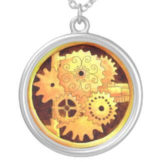 Gearbox1 Round Pendant Necklace