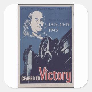 Geared_to_Victory-_-_NARA_Propaganda poster Square Sticker