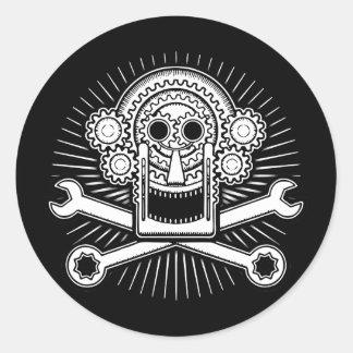 Gearhead -bw classic round sticker