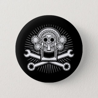 Gearhead -bw pinback button